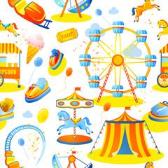 Amusement park seamless pattern