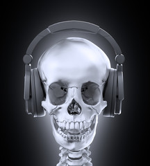 Human skull with headphones
