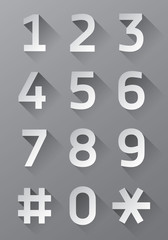 Grey buttons with numbers, vector buttons set, shadow