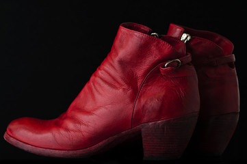 red cowboy boots on black