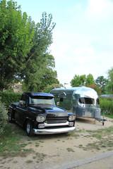 Classic car and caravan