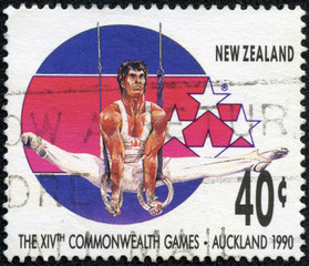 stamp printed in New Zealand, shows Gymnast