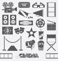 Vector Set: Cinema and Movie Icons and Elements