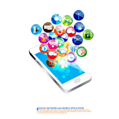 Mobile with Social communication vector design