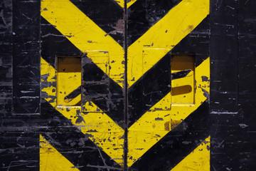 grunge door - yellow and black stripes