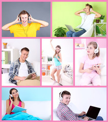 Collage of happy people with headphones