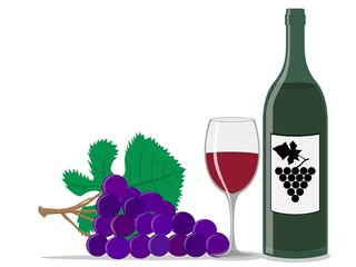 Wine bottle,glass and grape