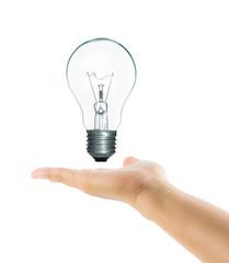 Lamp light bulb on woman hand isolate