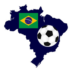 Brazil map with flag and soccer Ball
