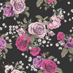 Vector seamless floral pattern with roses on dark background