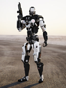 Futuristic Police armored mech weapon with background