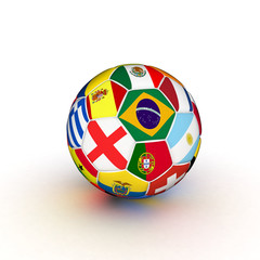 3d soccer ball with flags