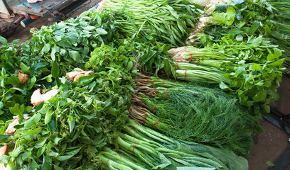 Green vegetables in the retail market.