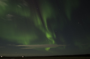 Northern lights in the iceland sky