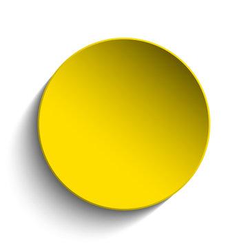Yellow  Circle Button on White Background