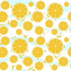Oranges slices seamless pattern splash on blue white