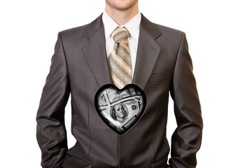 Man in black suit with one hundred dollar heart inside him