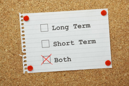 Long or Short term planning Tick Boxes on a notice board