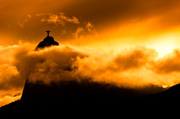 Wall Mural - Corcovado Mountain with Christ the Redeemer on Sunset