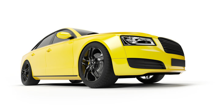 3d rendered illustration of a yellow sport sedan
