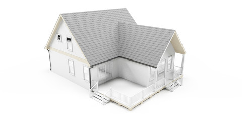 3d rendered illustration of an american house