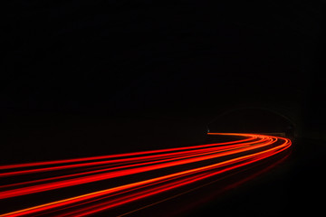 Car light trails in the tunnel. Fotomurales