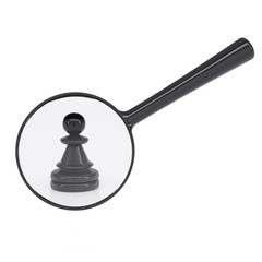 Black pawn and magnifying glass