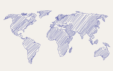 world map freehand drawing