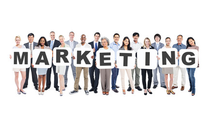 Wall Mural - Group Of Diverse People Holding Word Marketing
