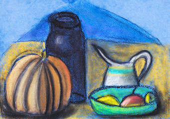 children drawing - still life with jugs and pumpkin