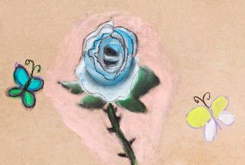 children drawing - blue rose and two butterflies