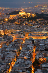 Poster Athens Acropolis as seen from Likabetus Hill, Athens.