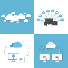 Flat cloud computing vector illustration templates