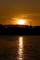 Windmills on the lake