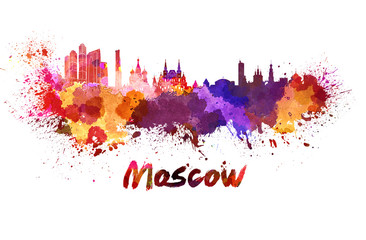 Moscow skyline in watercolor