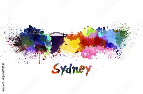 Sydney skyline in watercolor