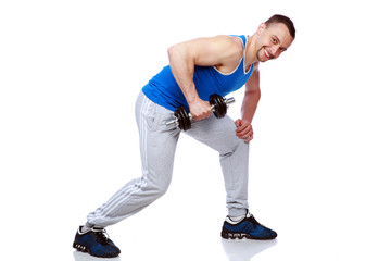sport man doing exercises with dumbbells over white background