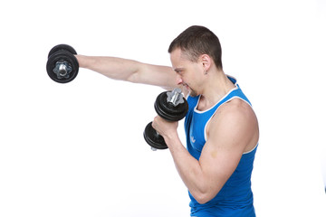 sport man doing exercises with dumbbells