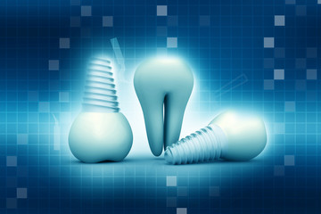 Tooth human implant on abstract background ..