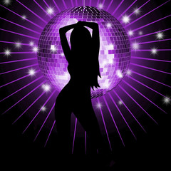 Background with girl, disco-ball