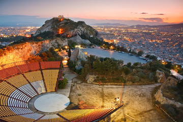 Foto op Aluminium Athene Athens at sunset from Likabetus Hill.