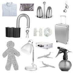 Collage of different objects in shades of gray, isolated