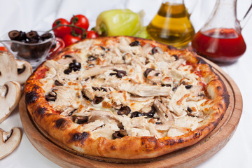 Wall Mural - Meat chicken and mushrooms pizza