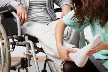 Disabled person during rehabilitation