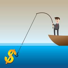 cartoon businessman fishing money on boat
