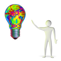 3d man and bright multicolor light bulb
