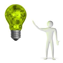3d man and weird green light bulb