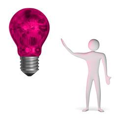 3d man and weird pink light bulb