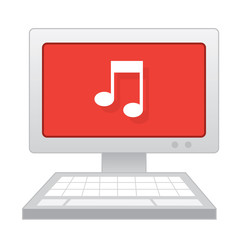 Computer with large music note on the screen