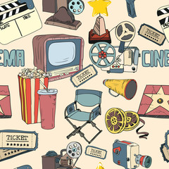 Colored doodle cinema seamless wallpaper
